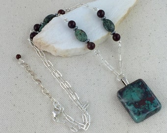 Square Turquoise and Red Chrysocolla Pendant Necklace on Strand of Silver Chain with African Turquoise and Red Jasper Beads