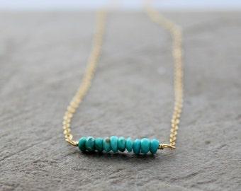 Sleeping Beauty Turquoise Bar Necklace -  Gemstone Bar Necklace - Bridesmaids Necklace,  Rondelle Necklace, Layering Necklace - Gemstone Bar
