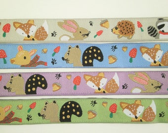 """1 m Woven Ribbon """" Racoon, Fox, Hare and Hedgehog"""" 15 mm w."""
