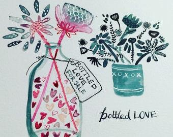 Bottled Love- Giclee Art Print on archival paper 10x8