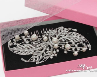 Rhinestone bridal hair comb Pearl wedding hair comb Pearl bridal comb Crystal hair accessory Bridal jewelry Wedding jewelry 5191