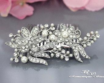 Bridal pearl hair comb, Vintage style bridal hair comb, Pearl wedding hair comb, Bridal comb,  Pearl hair accessory - 5137