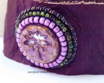 Bohemian Cuff | Boho Cuff | Boho Leather Cuff Purple Lilac Dragonfly  (6 - 7 inch)