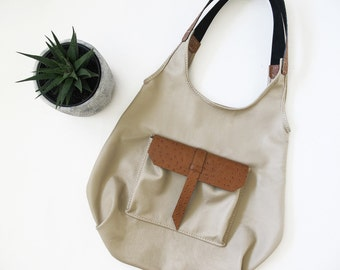 Brown Leather Shoulder Bag, Hobo Bag, Soft Leather Bag, Large Tote, School Bag