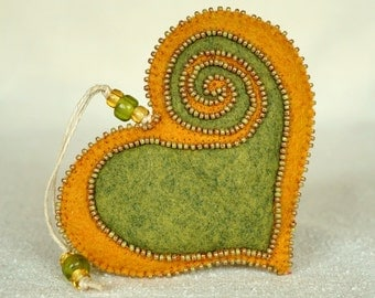 Beaded Green and Gold Wool Felt Heart Ornament #2, St. Pat's Day, Mother's Day Heart, Proposal Idea, Wedding Gift *Ready to ship