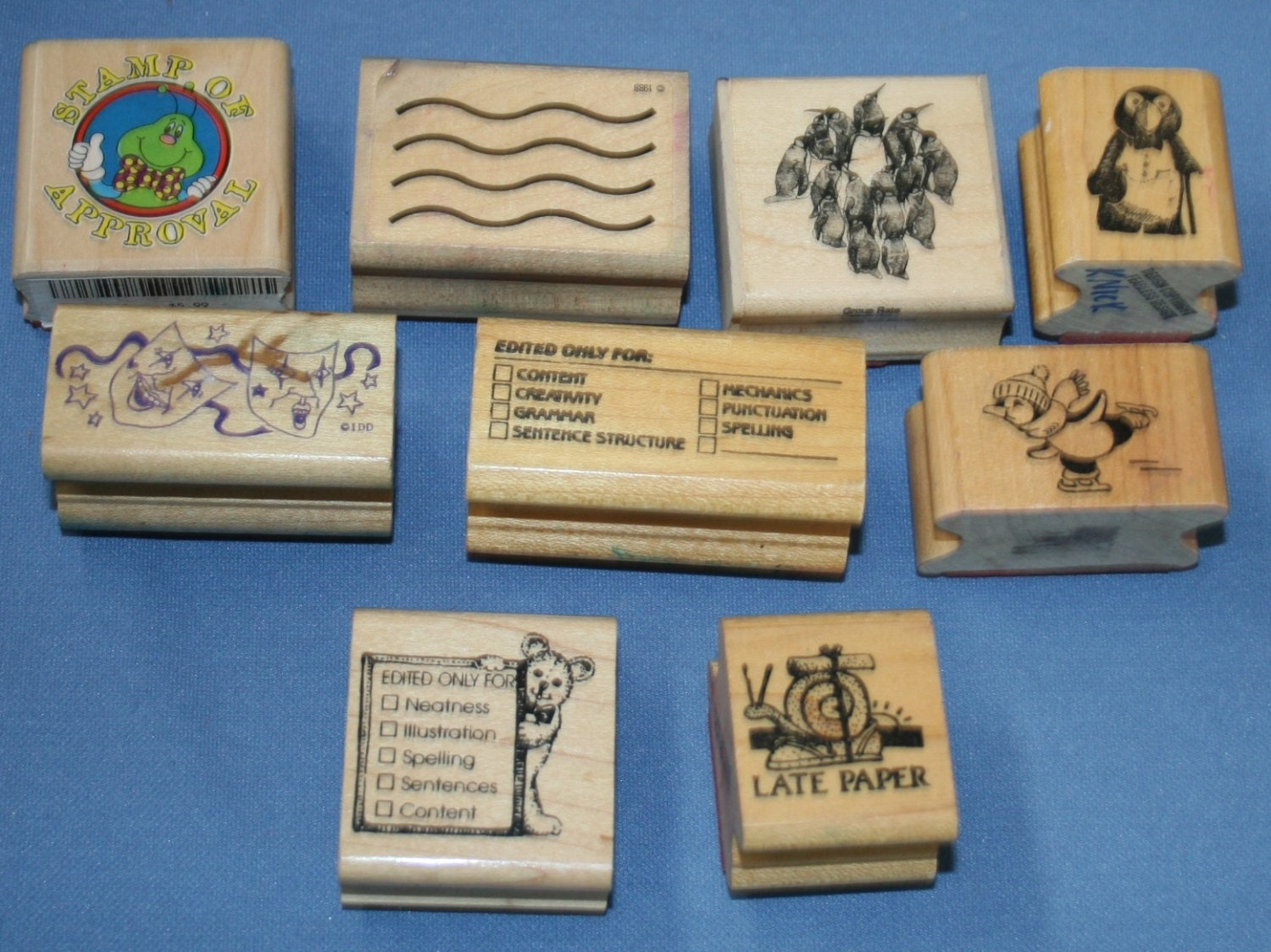 Lot various wooden rubber stamps 9 pcs craft teacher school for Custom craft rubber stamps