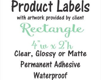 Custom Product Label, 4x2 rectangle, your artwork provided, vinyl stickers waterproof eco-solvent ink, business sticker, branding label