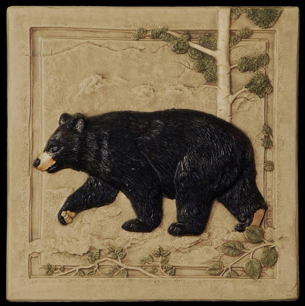 Black bear left art tile home decor ceramic by for Bear home decorations