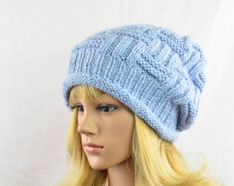 Beanie, knitted in light gray, slouchy hat - vintage and modern - for women