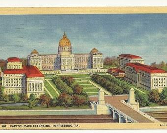 Capitol Park Extension, Harrisburg, Pennsylvania  1944 Postcard
