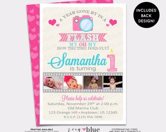 One Year in a Flash Girl Birthday Invitation Girl First 1st Birthday Pink Heart Picture Invitation Cameras - Printable Digital File