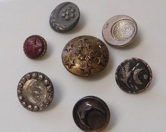 7 Celestial Crescent Moon Buttons Vintage and Antique Astronomy Moon and Stars