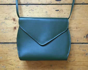 Vintage 1980s Green Purse / Cross Body Bag