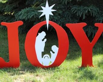 Joy Nativity with Manger Scene