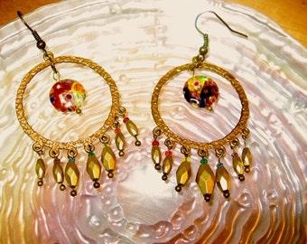 Antique Brass & Rainbow Millefiori Dangle Earrings