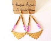 SALE Art Deco, Chandelier, Earrings, Hot Pink, Brass, Gold