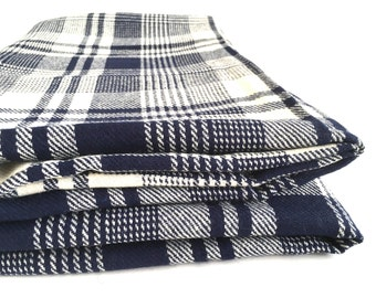 "Gorgeous Wool Fabric Yardage Navy Blue Cream Plaid Woven 3 Yards 60"" Wide Medium Weight"