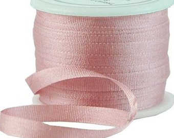 11 Yds (10 M) Embroidery Silk Ribbon 100% Silk 4mm - Pale Pink - By Threadart