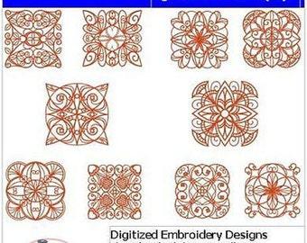 Embroidery Design CD - Quilt Blocks(4) - 10 Designs - 9 Formats - Threadart