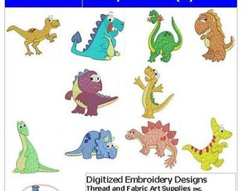Embroidery Design CD - Crazy Dinos(1) - 10 Designs - 9 Formats - Threadart