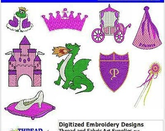 Embroidery Design CD - Princess(1) - 9 Designs - 9 Formats - Threadart