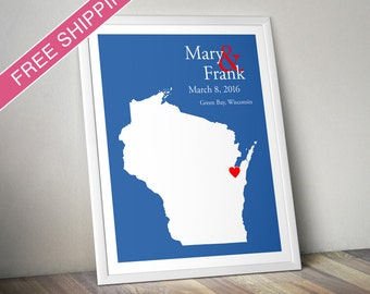 Custom Wedding Gift : Personalized Wedding Location and State Map Print - Wisconsin - Engagement Gift, Wedding Guest Book