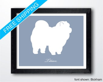 Personalized Chow Chow Silhouette Print with Custom Name