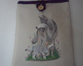 Tablet cover - Embroidered girl, wolf, fox,birds, fairy
