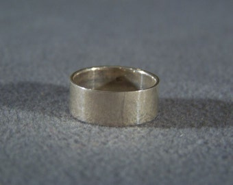 Vintage silver smooth eternity wide wedding band ring 8 Jewelry **RL