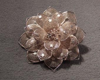 Vintage Sterling Silver Marvelous Intricate Fancy Filigree Bold Brooch Glorious Jewelry **RL