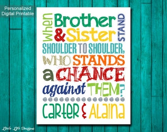 Brother & Sister. Sibling Wall Art. Kids Room Decor. Brothers and Sisters Sign. Nursery Decor. Brother and Sister Decor. Stand Together.