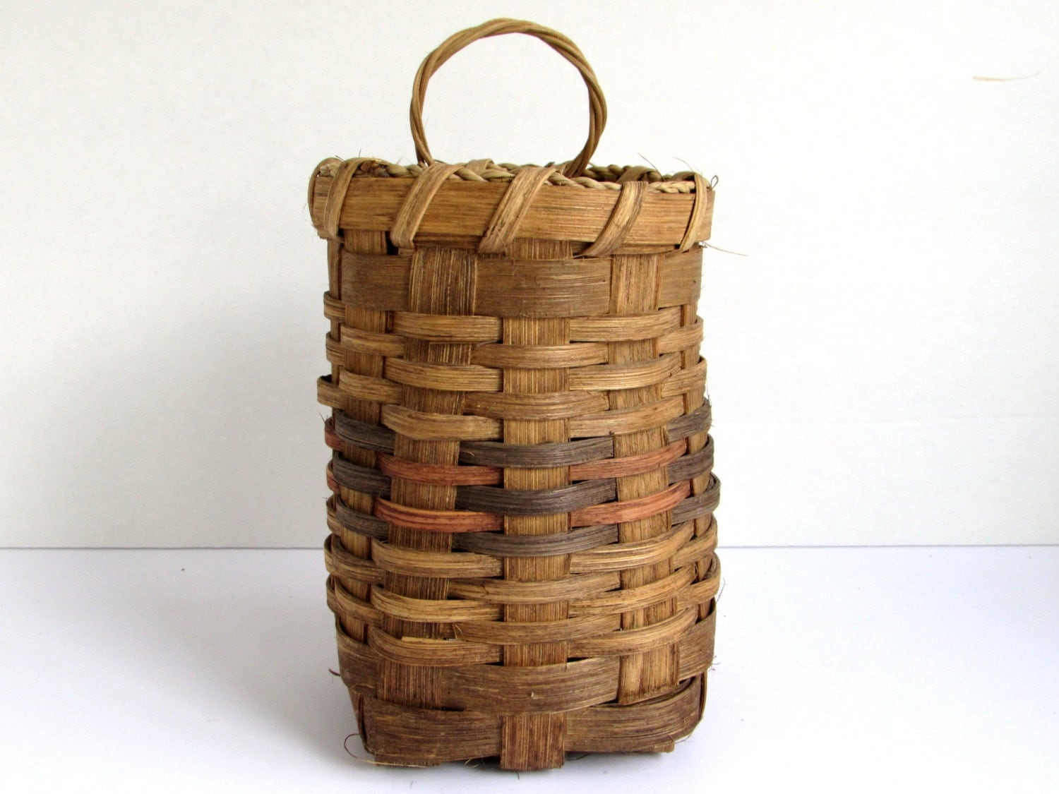 Tiny Wicker Basket With Handle : Vintage wicker basket small woven with handle artisan