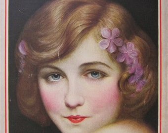 Original August 1925 Dorothy Gish Photoplay Magazine Cover By Charles Sheldon - Hollywood's Golden Age - Free Shipping