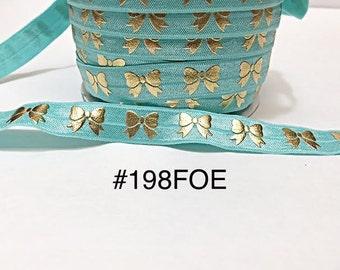 "3 or 5 yard - 5/8"" Gold Gold Bow on Aqua Blue Fold Over Elastic Headband Hair Accessories"