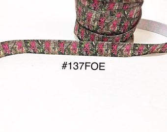 "3 or 5 yard - 5/8"" Hot Pink Browning Deer on Camo Fold Over Elastic Headband Hair Accessories"