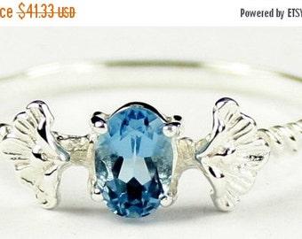 Valentines Sale 30% Off, SR192, .50ct London Blue Topaz, 925 Sterling Silver Ring