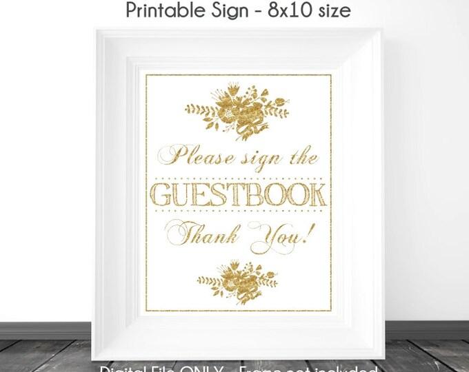 INSTANT Download - Gold Glitter Guestbook Sign, Printable Sign, Sign the Guestbook Gold Sign, You Print, DIY Glitter Sign, Wedding Shower