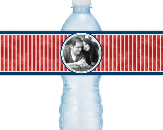 Wedding Photo Water Bottle Labels - CUSTOM Printable Nautical Water Bottle Labels, YOU print, you cut, DIY water bottle labels