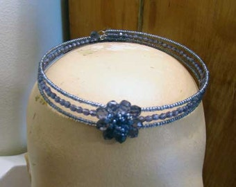 Blue beaded choker, vintage choker necklace, Vintage blue beaded choker, Bridal jewelry