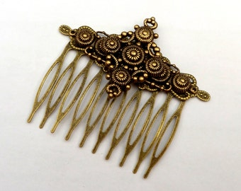 Hair comb antique style with brass ornaments, art deco hair accessories, baroque, rococo, wedding hair comb, gift for her