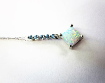 1OKT White Gold Opal and Blue Topaz Drop Pendant