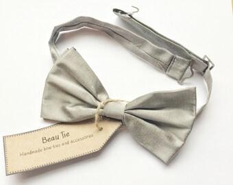 Mens bow tie silk, sikj bow tie, silver bow tie, grey bow tie, wedding bow tie