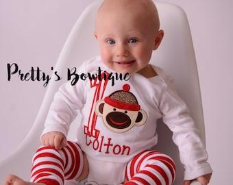 Sock Monkey Boy's Birthday with Matching Hat, legwarmers & Bib -Sock Monkey Birthday Shirt- Sock Monkey Shirt- 1st Birthday Monkey