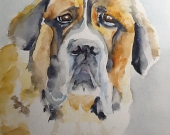 "Original Watercolor Painting, ""Shadow"", portrait of a rescue dog free shipping North America and UK"