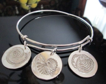 Adjustable Sterling Bangle Bracelet with 3 Sterling Etched  Shell Charms