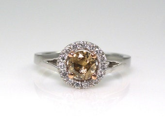 0.48 Carat Champagne Diamond with White Diamond Halo Engagement Ring in 14k White Gold Sale By Best In Gems(14072)