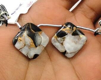 Ivory Copper Obsidian Drops Cushion Shape 18x18mm Matching (9696)