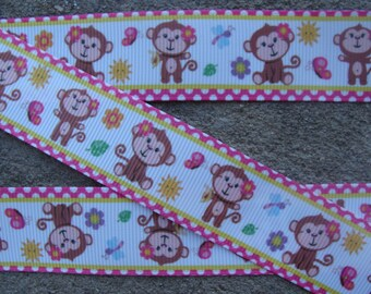 "Monkey Ribbon Pink and brown monkey ribbon animal ribbon Printed Grosgrain Ribbon 1"" 3 yards Monkey Polka Dots ribbon"