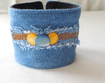 Denim Cuff with Mother of Pearl buttons & chain stitches on island, recycled jeans bracelet, upcycled vintage jean jewelry, for 7 inch wrist