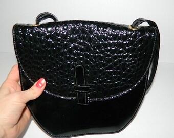 Retro Black Patent Leather Faux Reptile Print Shoulder Bag